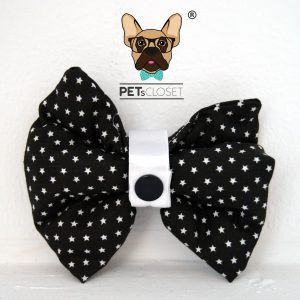 PET BOW BLACK STARS